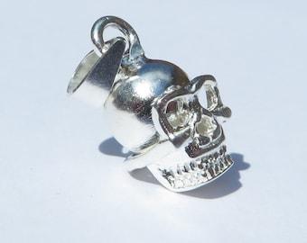925 Genuine Silver Skull Charm  - 92.5% Sterling Necklace Weddings Christening Bride Bridesmaid Flower Girl 21st sweet 16 Birthday Gift