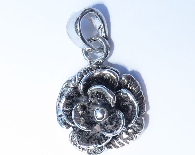 925 Genuine Silver Rose Charm - 92.5% Sterling Necklace Weddings Christening Bride Bridesmaid 21st 16 Birthday Gift Graduation Flower 18th