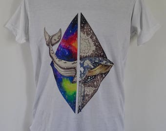 Men's Galaxy Whale T-Shirt - Tattoo Eco Earth Alternative - UK S M L