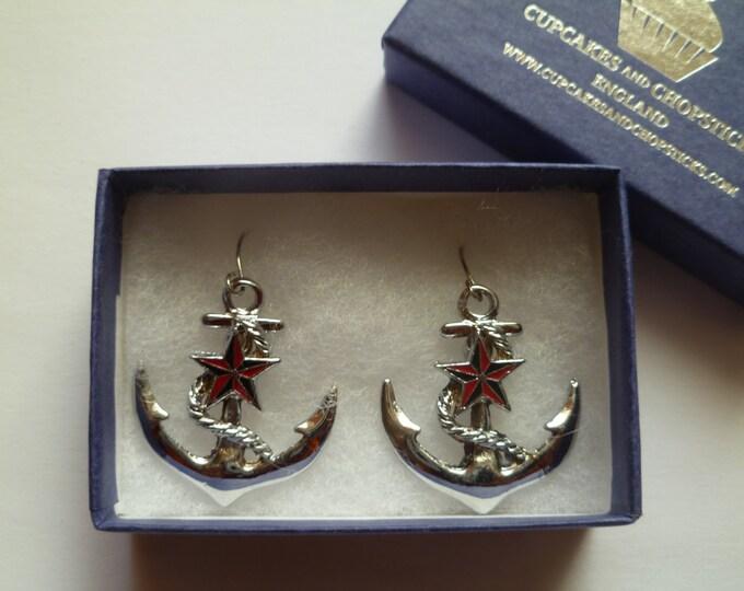 Anchor Star Earrings - Rockabilly Pin Up Girl Retro Gift Nautical Navy Tattoo