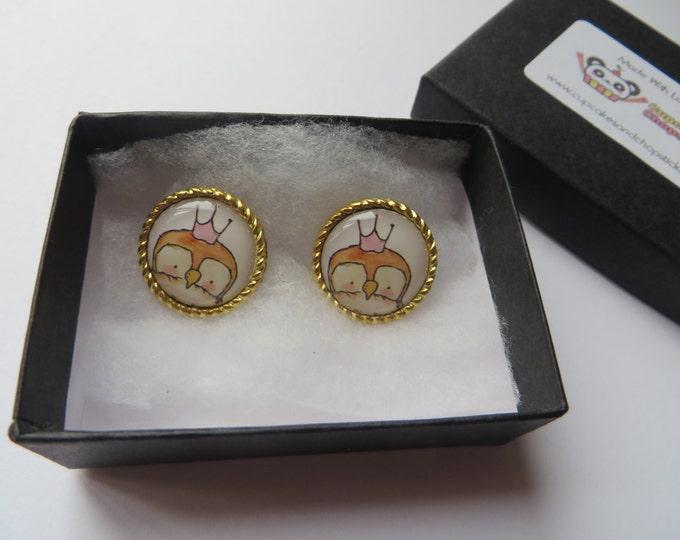Royal Owl Cameo Earrings -  C043 Rockabilly Crown Queen King Wedding Bride Princess Pin Up Regal Royal Royalty Tattoo Bird Antique