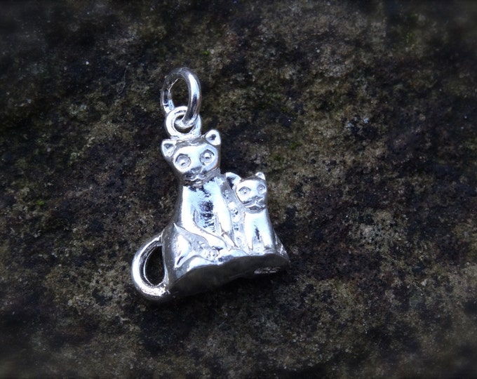 925 Genuine Silver Cat With Kitten Charm - 92.5% Sterling Necklace Weddings Bride Bridesmaid 21st 16 Birthday Mother Daughter Father Child