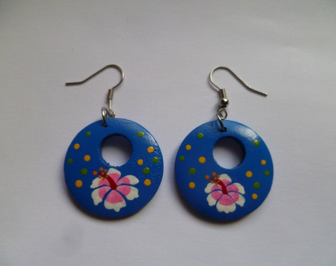 Large Round Wooden Blue Hibiscus Earrings - Flower - Natural Tribal Wood