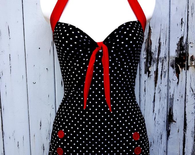 1950s Pin Up Girl Black And White Polka Dot Swimming Costume 10 12 14 16 18 - Buttons Retro Vtg Swimsuit Rockabilly Polka Dot