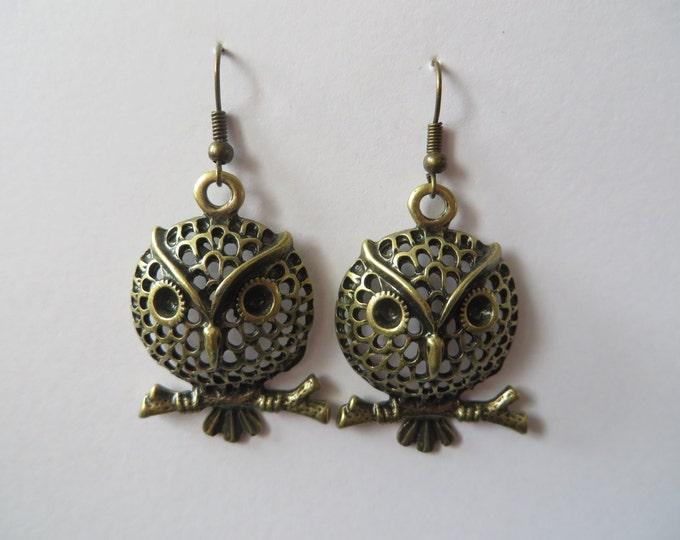 Vintage Art Deco Owl Earrings - Bird Bronze Tattoo Antique Retro Rockabilly Prom Geek Chic Present Birthday Wedding Bride Rock Roll