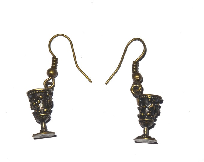 Vintage Bronze Goblet Earrings - Game of Thrones Medieval Wine Glass
