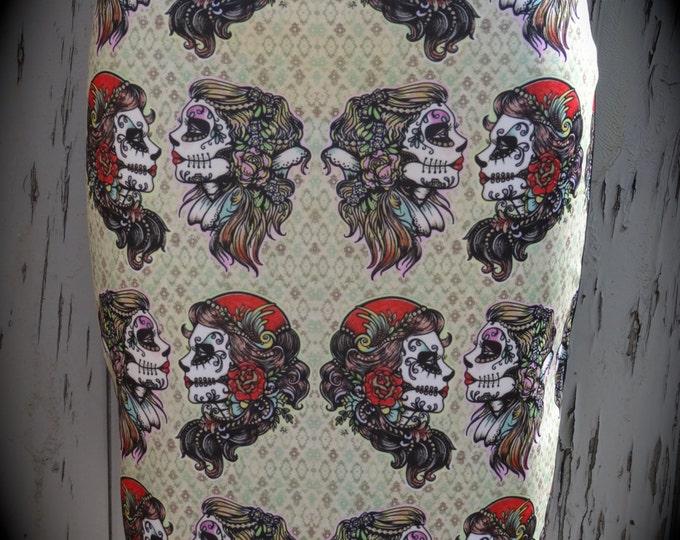 Gypsy Skull Pencil Skirt - Size 8 10 12 14 - Bodycon Retro Wiggle Tattoo Candy Skeleton
