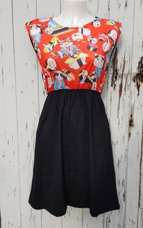 96604db326d3 Red Sushi Cats Black Skater Dress Size 10 12 14 Kitten