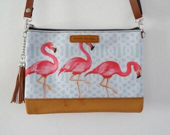 Pink Flamingo Handbag - Tropical Hibiscus Blue Summer Holiday Brown Bag