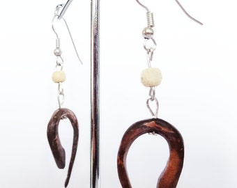 Alternative Carved Coconut Tribal Dangle Earrings - Natural Wood - Hook Wooden