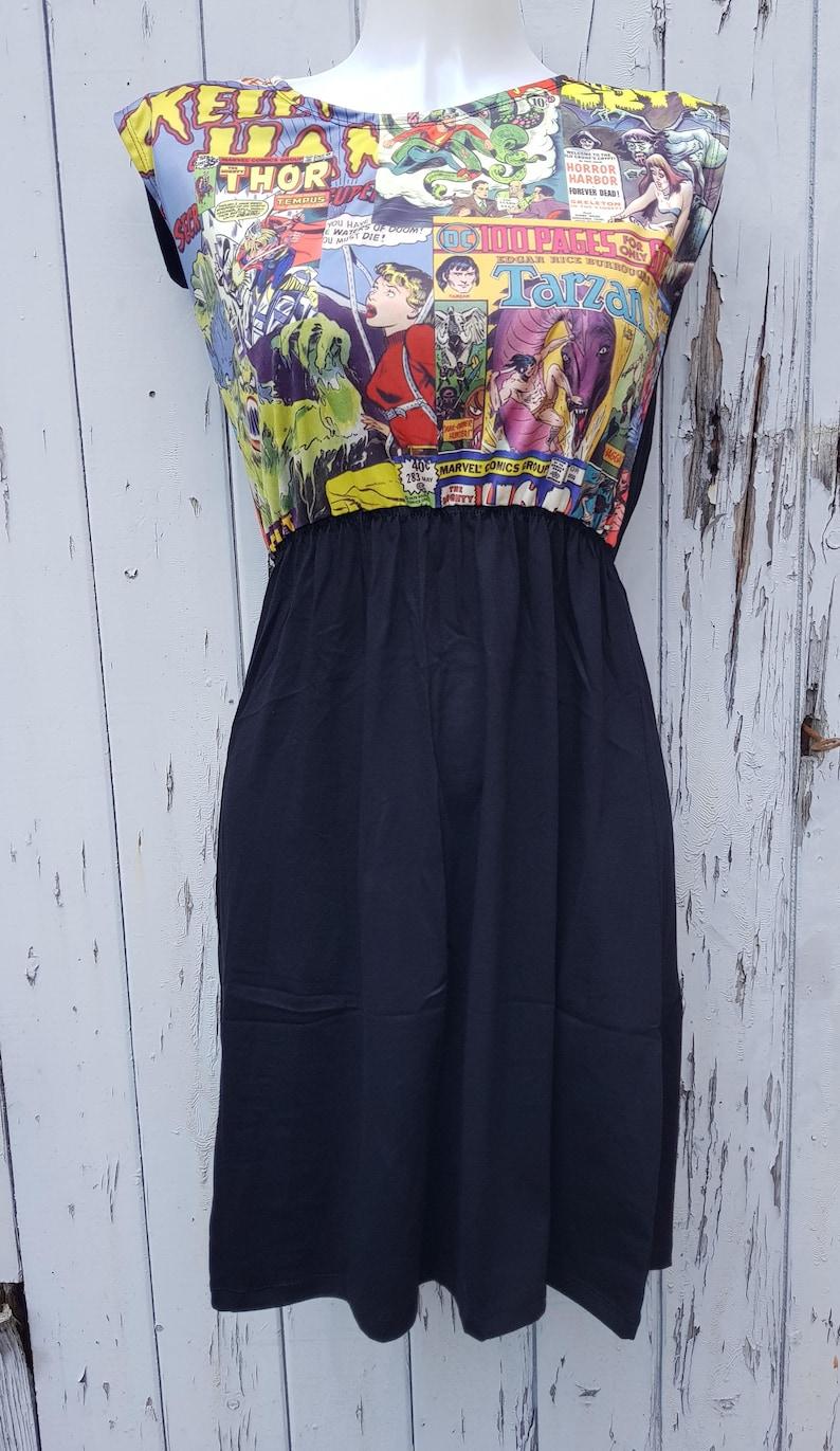 c87e51a57eff Comic Book Black Skater Dress Size 10 12 14 Geek Chic