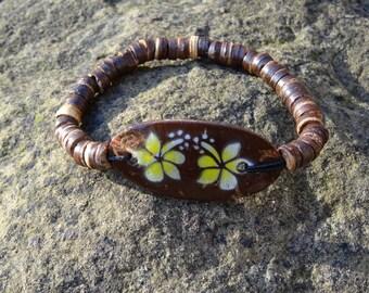 Wooden Coconut Yellow Hibiscus Flower Bracelet - Organic Beach Festival Surf Ethnic World Asian Tribal Tribe Alternative Gap Year