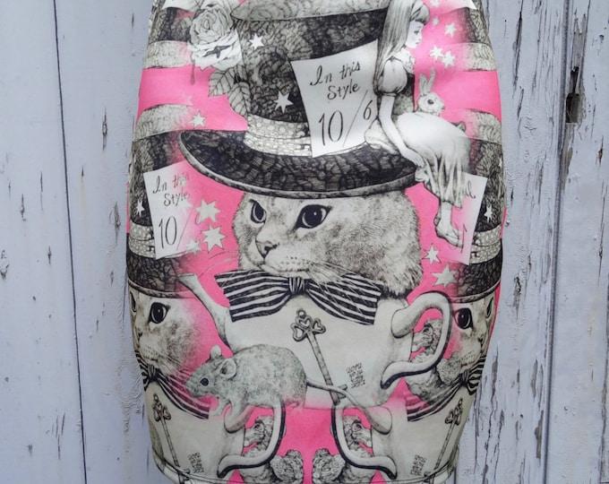 Pink Alice in Wonderland Cat Mini Skirt - Size 12 14 - Bodycon Kawaii Kitten Alternative Vintage