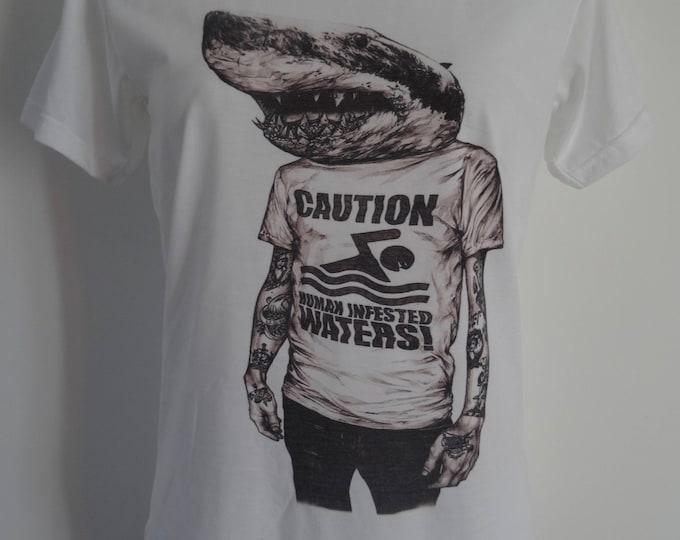 Women's Caution Human Infested Water Shark T-Shirt - UK 12 14 16 Nautical Navy