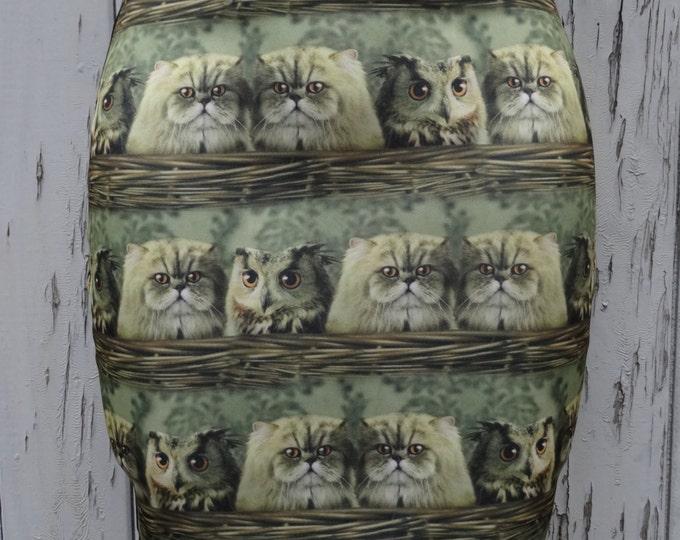 Cute Vintage Cats & Owls in a Basket Skirt - Size 8 10 12 14 - Mini Digital Print Bird Kitten Kitsch Vintage Kawaii Girl 1950s Geek Chic