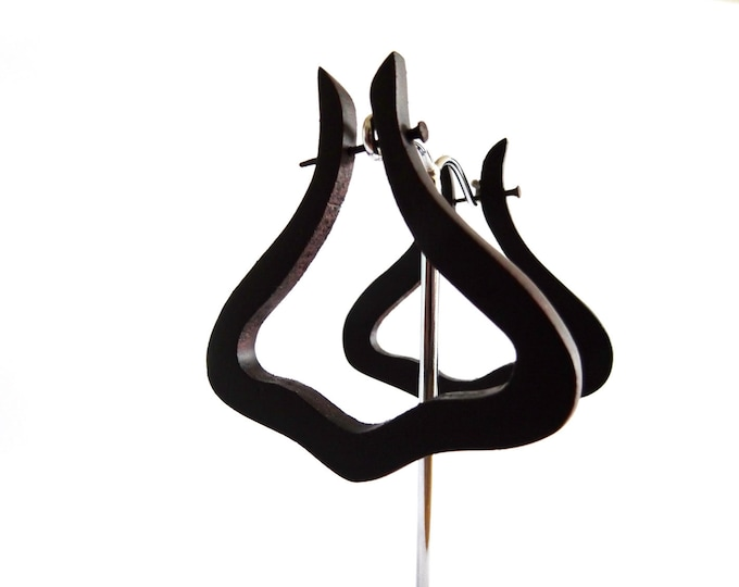 Alternative Dark Curve Wooden Earrings - Fake Plugs Gauges - Natural Tribal Wood