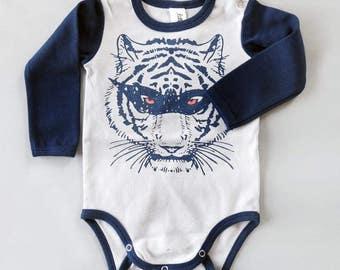 Super Hero Masked Tiger Long Sleeve Baby Grow - Unisex Alternative Tattoo Rockabilly Bodysuit 0-3, 3-6, 6-12 month