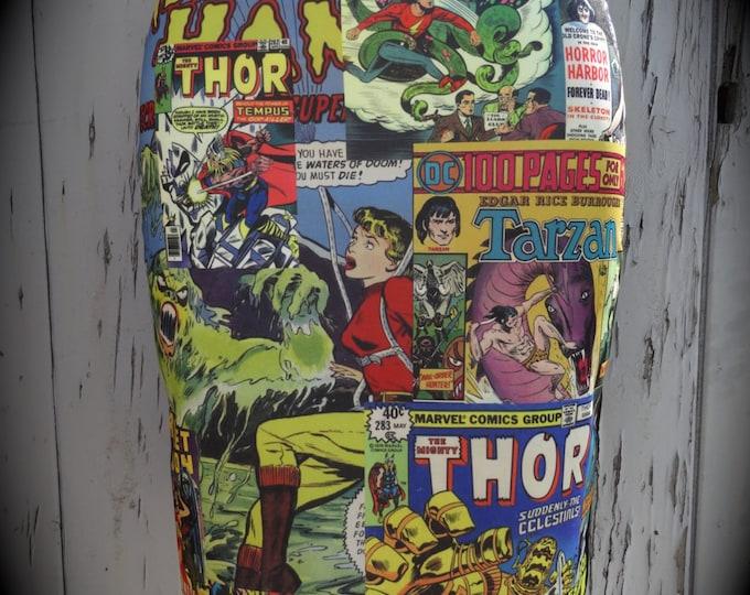 Comic Book Cover Pencil Skirt - Size 8 10 12 14 - Bodycon Retro Wiggle Superhero Geek Cartoon Hulk Thor Marvel