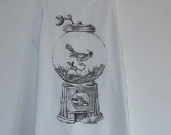 Gentleman Bird Hugo And His Gacha Machine Nest Vest Top / Dress - Feather Size 10-12 - White - T-Shirt Animal Quirky Vintage Kitsch Kawaii