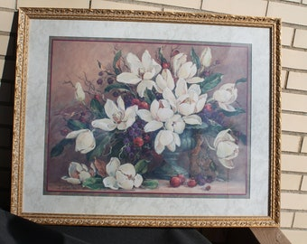 Magnolia Print by Barbara Mock from Home Interiors / Homco Floral Picture Wall Hanging in Gold Frame & Home interior pictures   Etsy
