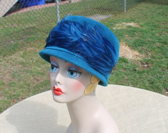fd53628a4946f5 Felted Wool Bucket Hat with Sweeping Feather in Bright Blue by Merrimac -  Velour Cloche