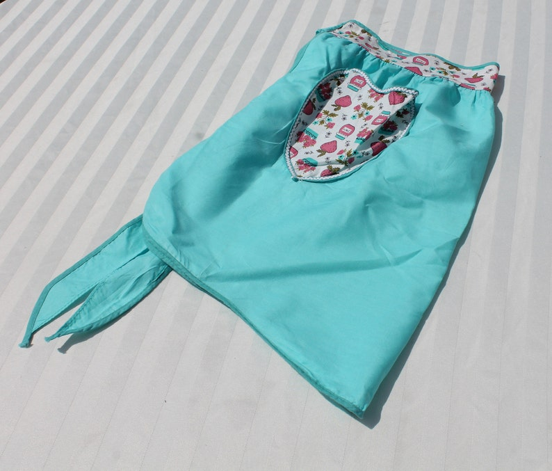 Vintage Turquoise Half Apron with Pink Strawberries and Jam Waistband and Heart Pocket