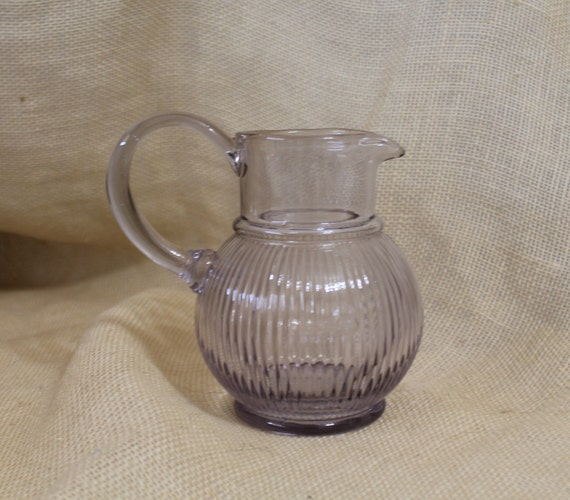 Delicieux Small Glass Pitcher / Vase In A Purple / Lilac Hue
