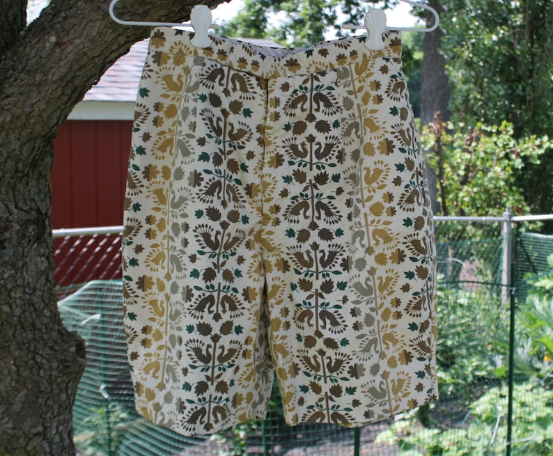 Fully Lined Cotton Shorts in Cream Gold and Brown Tones by Harburt