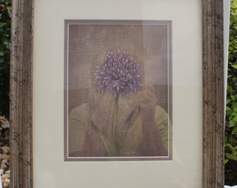 Framed Blue / Purple Thistle Flower Picture