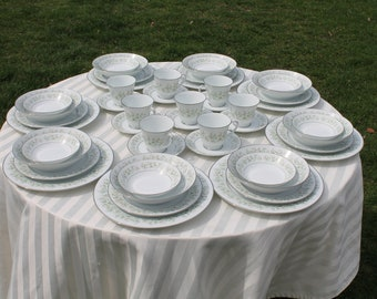 Seven Piece Plate Setting Service for Eight Noritake China Set - Savannah Pattern with Platinum Trim - Pattern No 2031 - 56 Pieces -
