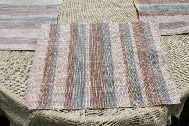 Set of Four Woven Rectangle  Placemats in Tan Brown Stripe and Blue Stripes