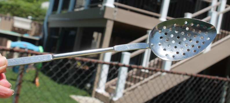 Made in USA Cooking Utensil Serving Spoon Kitchen Gadget Stainless Steel Strainer Spoon with Hook by Parker Gaines