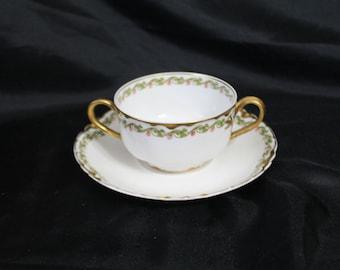 Haviland Limoges Bouillon Bowl and Saucer - Green Clover Pattern -  Schleiger 98