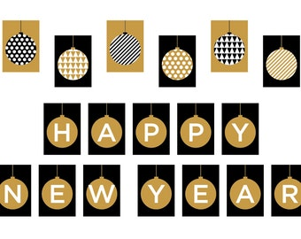 graphic relating to Happy New Year Banner Printable known as PRINTABLE Content Contemporary 12 months Banner Xmas Photograph Prop Etsy