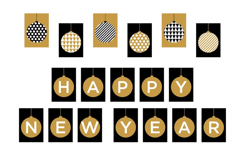 photo regarding Happy New Years Banner Printable known as PRINTABLE Delighted Fresh Calendar year Banner - Xmas Image Prop - Getaway Decorations - Glitter - Xmas Decor - Do-it-yourself, Print it Oneself