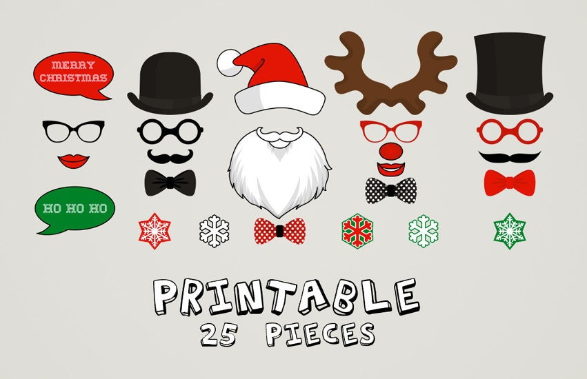 photo regarding Free Printable Christmas Photo Booth Props referred to as PRINTABLE Xmas Photograph Booth, Moustaches, Lips, Snowflake, Santa Clause, Do-it-yourself, Print it Your self