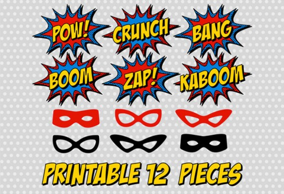 PRINTABLE Superhero Photo Booth Party Comic Sound Effect
