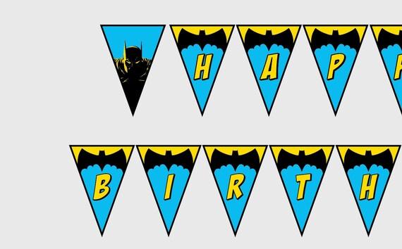 PRINTABLE Batman Happy Birthday Banner Superhero Party