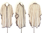 Unisex Mexican Wool Cape Beige Brown-Gray Striped Hippie Boho One Size NWOT