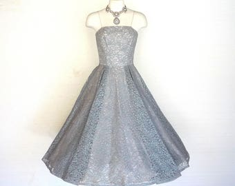 30ea8278a5 50s Prom Dress Vintage Blue Gray Floral Lace Party Gown New Look Girl XXS