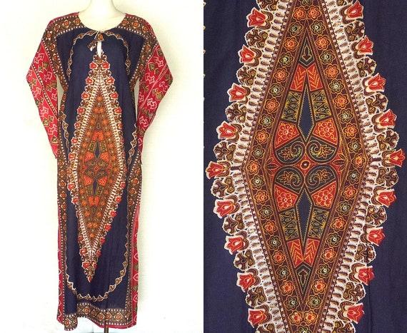60s 70s Caftan Dress Vintage Blue Dashiki Angel Sl