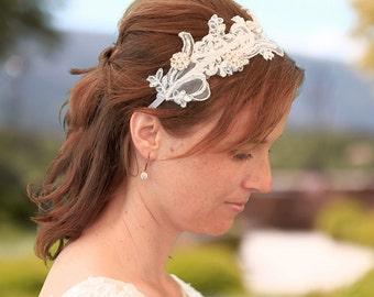 Lace headband with rhinestones, bridal headband, wedding headband, hairaccessory, bridal accessory