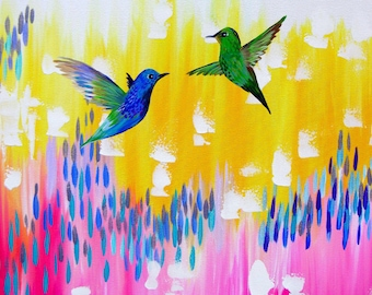 "art from Australia, hummingbird painting, hummingbird gift,Australian made, gifts from Australia, romantic gifts, for wife, 29.5"" x 23.5"""