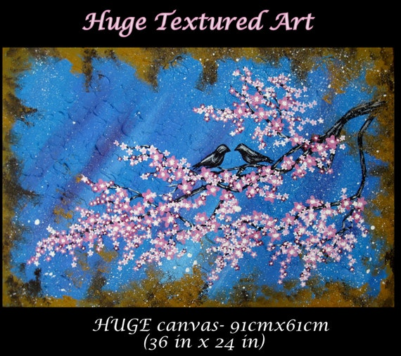 Cherry blossom tree painting large abstract art japanese etsy image 0 mightylinksfo