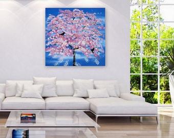 "huge tree painting, large tree painting, large painting, large paintings, cherry blossom painting, large wall art, huge 36"" x 36"", pink"