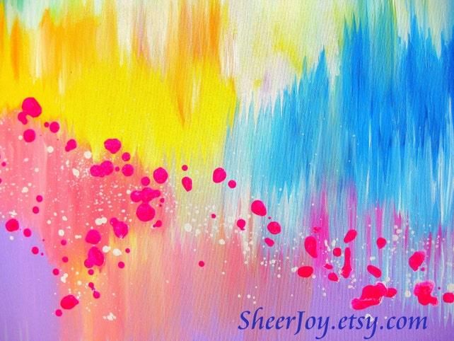 splashes of color abstract art on a canvas pastel art etsy