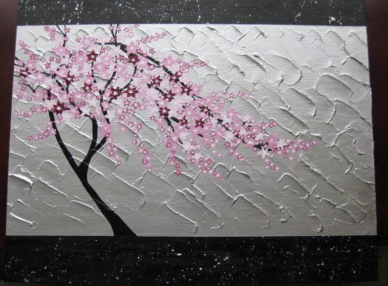 Japanese Cherry Blossom Painting Japanese Art Tree Pink Etsy