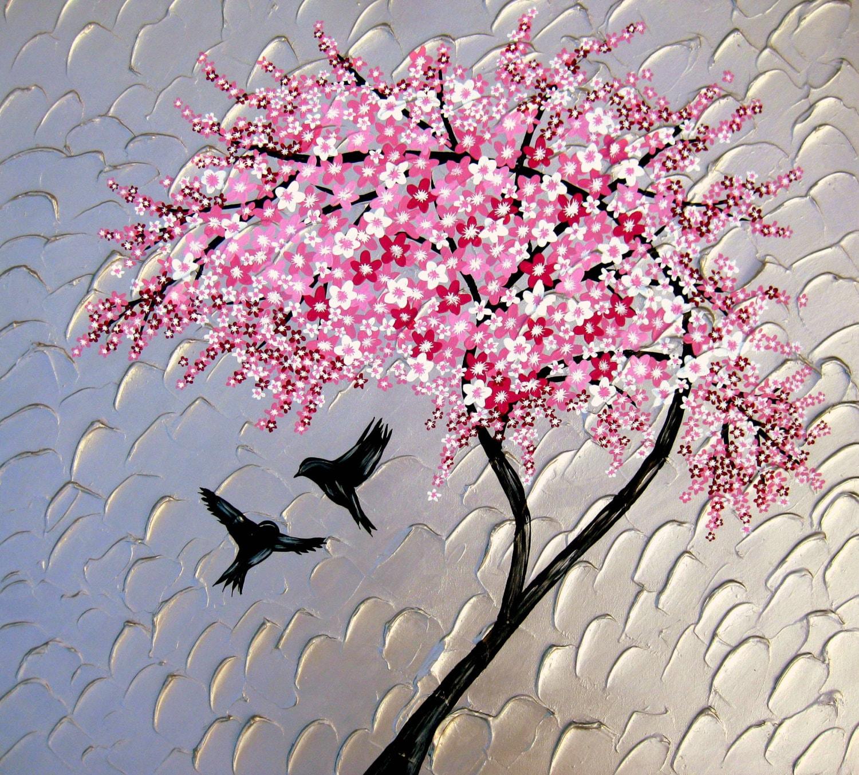 pintura de flor de cerezo pintura enorme grande con