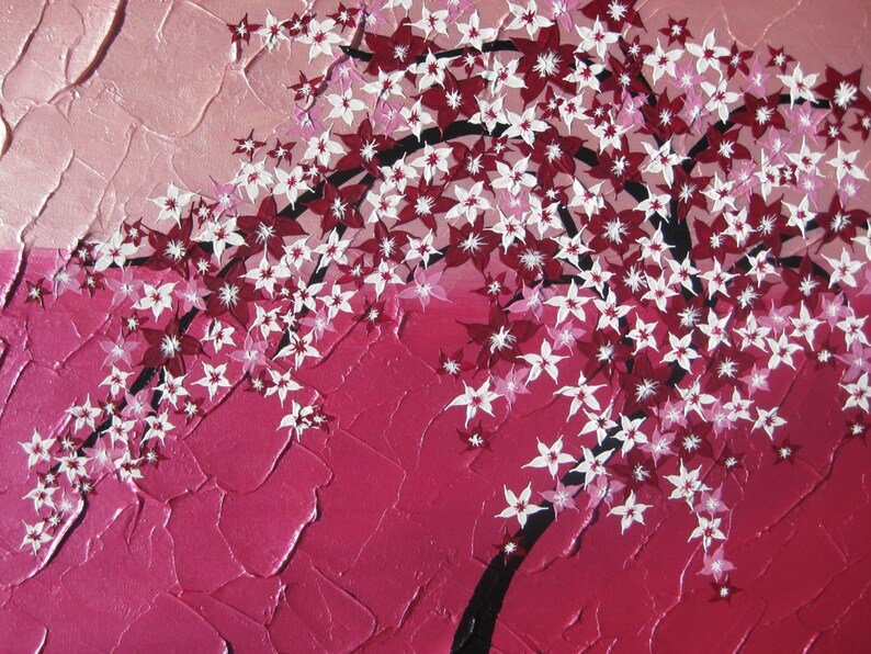 Cherry Blossom Pink Painting Japanese Tree Canvas Etsy