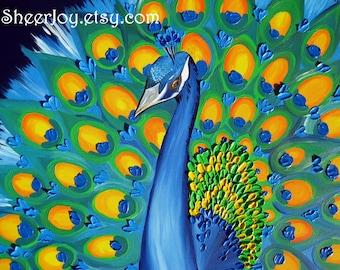 "peacock, peacocks, peacock gift, peacock birthday present, peacock gifts, peacock present, peacock painting, peacock art, 29"" x 24"""